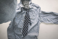 wrinkle striped shirt with necktie taking a selfie hipster man, royalty free stock photography