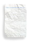Wrinkle white lined paper(with clipping path). Wrinkle white lined paper on white background (with clipping path Royalty Free Stock Photography