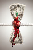 Wrinkled American Dollar Bleeding in Rope. Wrinkled American Dollar Tied Up and Bleeding in Rope Stock Photos