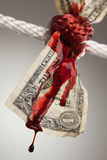 Wrinkled American Dollar Bleeding in Rope. Wrinkled American Dollar Tied Up and Bleeding in Rope Royalty Free Stock Photos