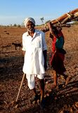 Wrinkled And Expressive Old Farmer Sharpening His Scythe With Animal An Working Woman In The Background. Stock Photo