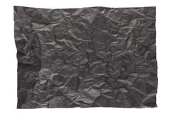 Wrinkled black page. Isolation of wrinkled black paper on white background Royalty Free Stock Images