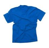 Wrinkled Blue Tshirt. Blue Shirt with Wrinkles Isolated on White Background Stock Photo
