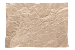 Wrinkled brown page. Isolation of wrinkled brown paper on white background Stock Photos