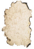 Wrinkled burnt paper. Over white background stock photography