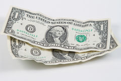 Wrinkled Dollars Stock Photography
