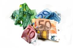 Wrinkled Euro Currency Royalty Free Stock Photos