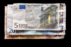 Wrinkled euro money Stock Photo