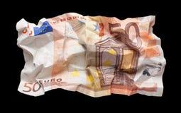 Wrinkled euro money Stock Images