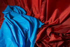 Wrinkled fabric, colored fabric, raw material, red, black, blue Stock Image