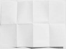 Wrinkled fold white sheet of paper texture Royalty Free Stock Images