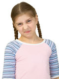 Wrinkled girl in a T-shirt. On a white background Royalty Free Stock Photography