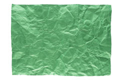 Wrinkled green page. Isolation of wrinkled green paper on white background Stock Image
