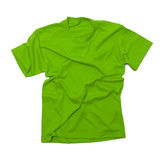 Wrinkled Green Tshirt. Green Shirt with Wrinkles Isolated on White Background Royalty Free Stock Photo