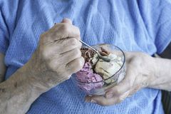 Wrinkled Hands Holding A Bowl Of Ice Cream Royalty Free Stock Image