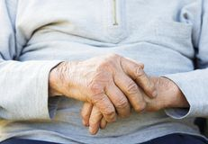 Wrinkled Hands Stock Photography