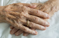 Wrinkled hands Royalty Free Stock Photos