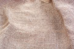Wrinkled Hessian sack cloth or gunny sack. Selective focus Stock Photo