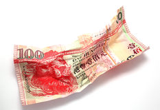 Wrinkled Hong Kong $100 dollar Royalty Free Stock Photo