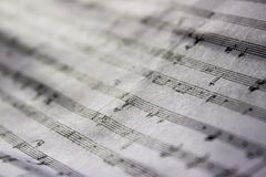 Wrinkled music sheet stock photo
