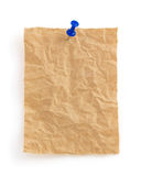 Wrinkled note paper on white royalty free stock photos
