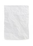 Wrinkled note paper on white stock photography