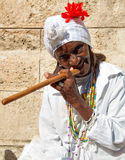Wrinkled old lady in Havana Stock Photography