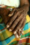 Wrinkled pair of hands of an old woman Royalty Free Stock Photo