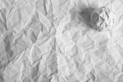 Wrinkled paper with paper ball Royalty Free Stock Images