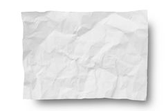 Wrinkled paper. Rumpled piece of paper -Clipping path included Stock Images