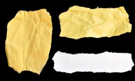 Wrinkled paper textures. Samples of three different crumpled paper textures on a black background Royalty Free Stock Photos