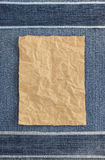 Wrinkled parcel paper at jeans Stock Photo