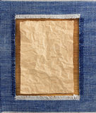 Wrinkled parcel paper and jeans Stock Images