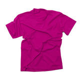 Wrinkled Pink Tshirt. Pink Shirt with Wrinkles Isolated on White Background Royalty Free Stock Images