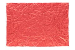 Wrinkled red page. Isolation of wrinkled red paper on white background Royalty Free Stock Photography