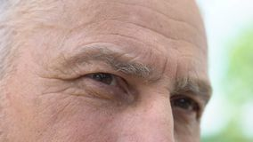 Wrinkled retired man eyes close-up, remembering good past, social security. Stock footage stock video footage
