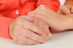 Wrinkled senior hands Royalty Free Stock Photo