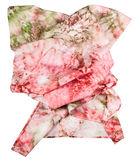 Wrinkled silk scarf with abstract pink ornament Royalty Free Stock Photo