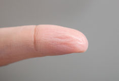 Wrinkled skin of finger Royalty Free Stock Photography