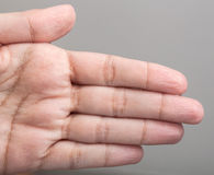 Wrinkled skin of the hands Stock Photos