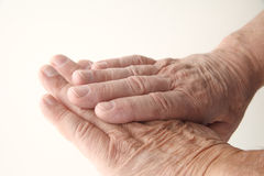 Wrinkled skin on older man hands Royalty Free Stock Image