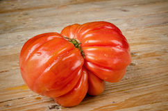 Wrinkled tomato. Of the particularly tasty Raf type on a rustic wooden table Royalty Free Stock Photography