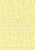 Wrinkled Yellow sheet of line Paper. Stock Images