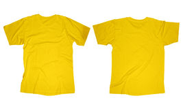 Wrinkled Yellow Shirt Template. Wrinkled blank yellow t-shirt template, front and back design isolated on white Royalty Free Stock Images