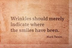 Wrinkles indicate Twain stock photo