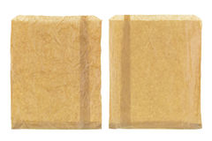 Wrinkly thin brown grocery paper bag, blank front and back isola Royalty Free Stock Images