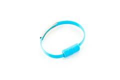 Wrist band blue wire USB Stock Photos