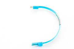 Wrist band blue wire USB Royalty Free Stock Images