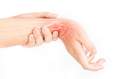 Wrist bones injury. White background Royalty Free Stock Photo
