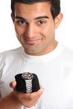 wrist för watch för chronographholdingman royaltyfria bilder